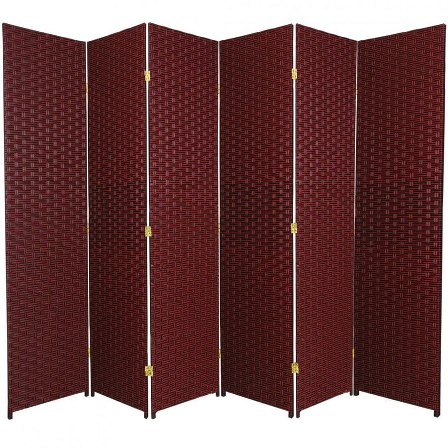 Oriental Furniture 6-Panel Red/Black Rattan Folding Indoor Privacy Screen
