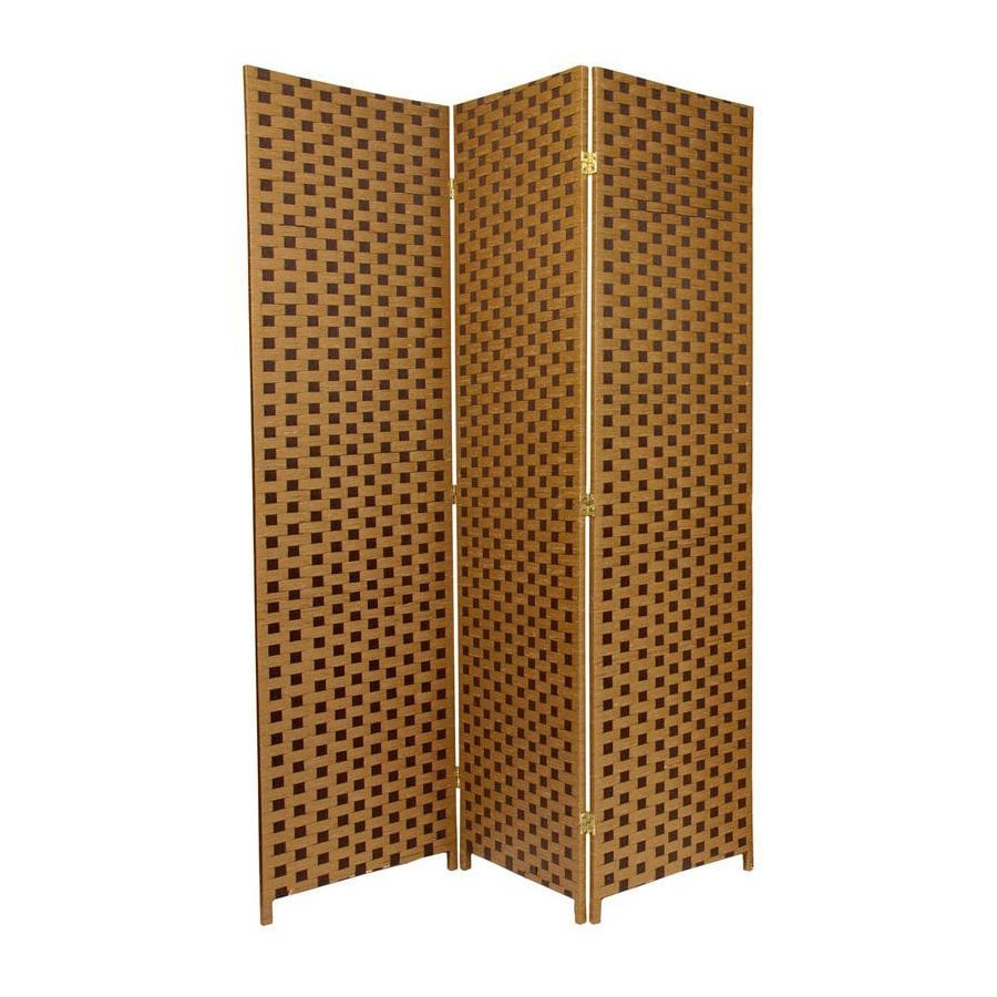 Oriental Furniture 3-Panel Sand/Mocha Woven Fiber Folding Indoor Privacy Screen