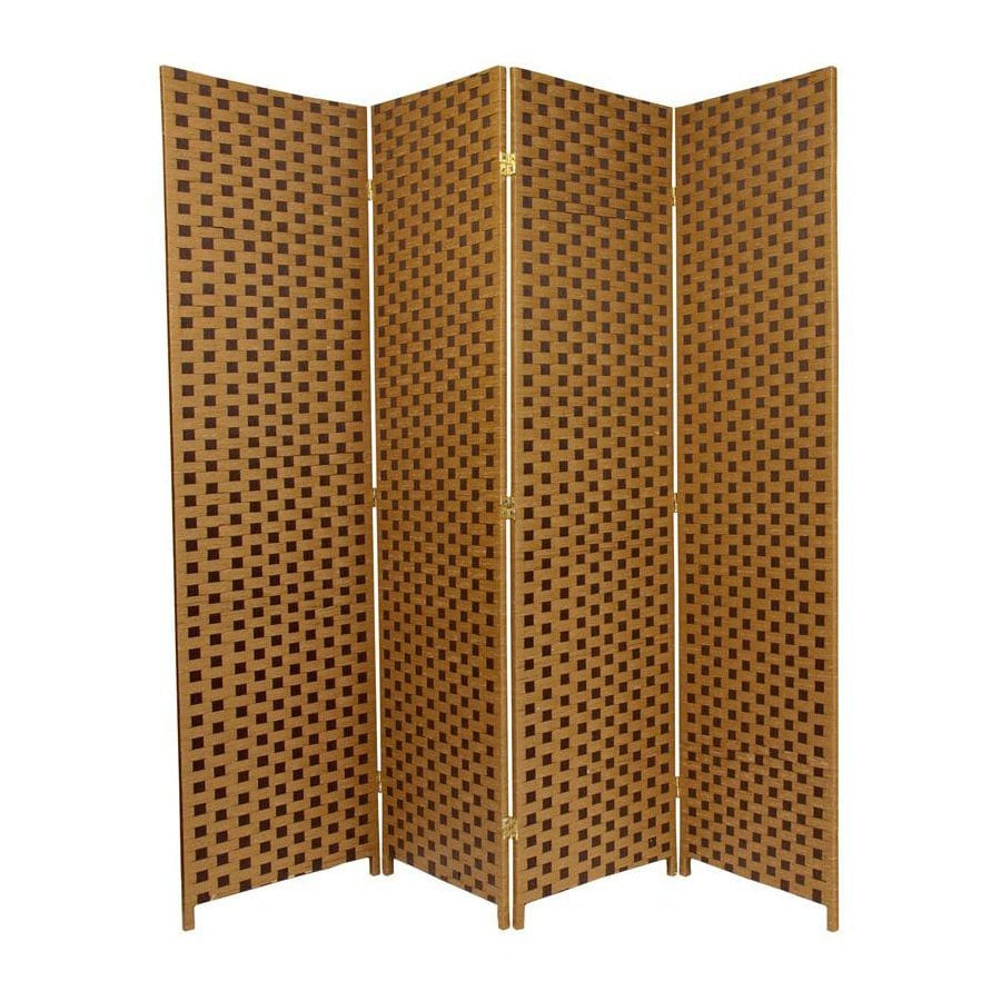 Oriental Furniture 4-Panel Sand/Mocha Woven Fiber Folding Indoor Privacy Screen