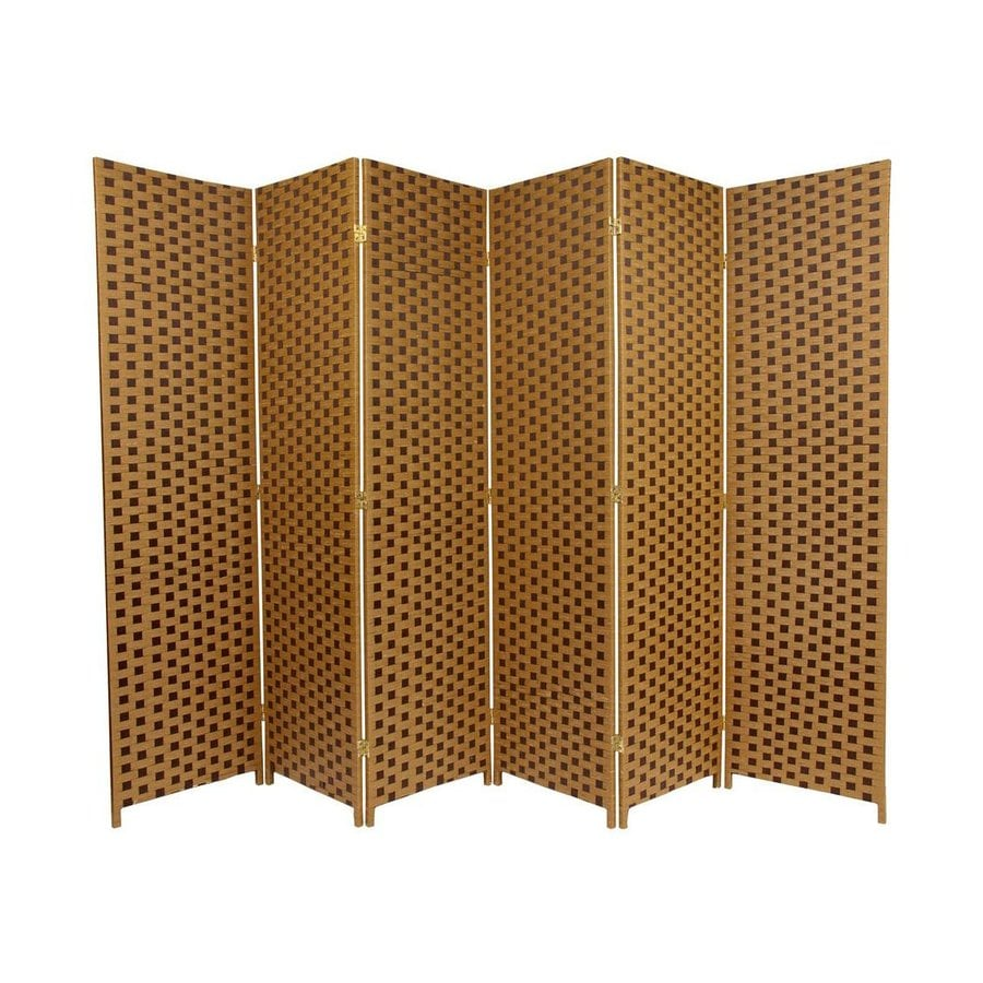Oriental Furniture 6-Panel Sand/Mocha Woven Fiber Folding Indoor Privacy Screen