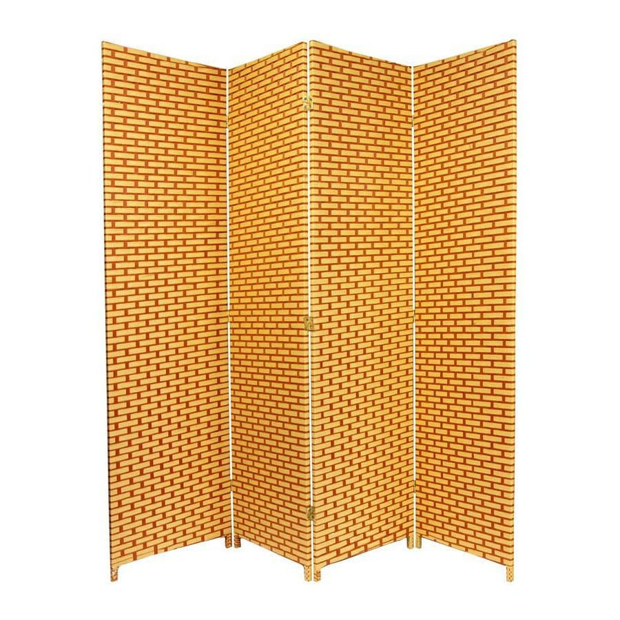Oriental Furniture 4-Panel Natural/Rust Wood and Rattan Folding Indoor Privacy Screen
