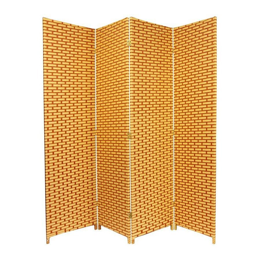 Oriental Furniture 4-Panel Rust/Mocha Woven Fiber Folding Indoor Privacy Screen