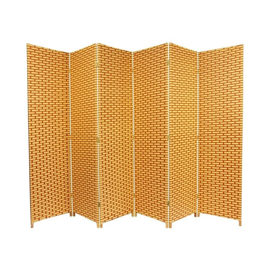Oriental Furniture 6-Panel Natural/Rust Wood and Rattan Folding Indoor Privacy Screen