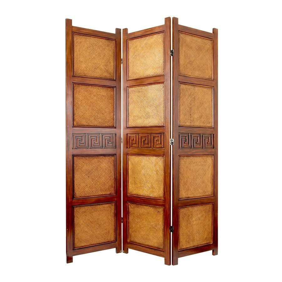 oriental furniture peiking 3 panel brown rattan folding indoor privacy screen at. Black Bedroom Furniture Sets. Home Design Ideas