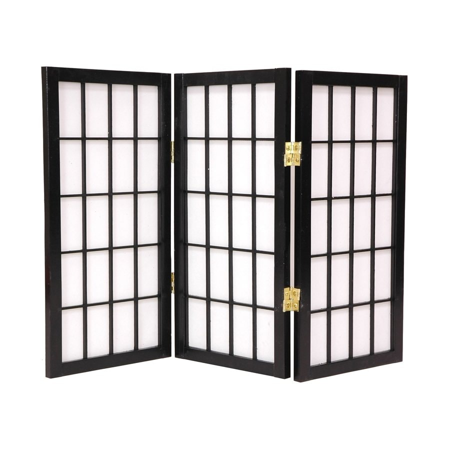 Oriental Furniture Window Pane 3-Panel Black Paper Folding Indoor Privacy Screen