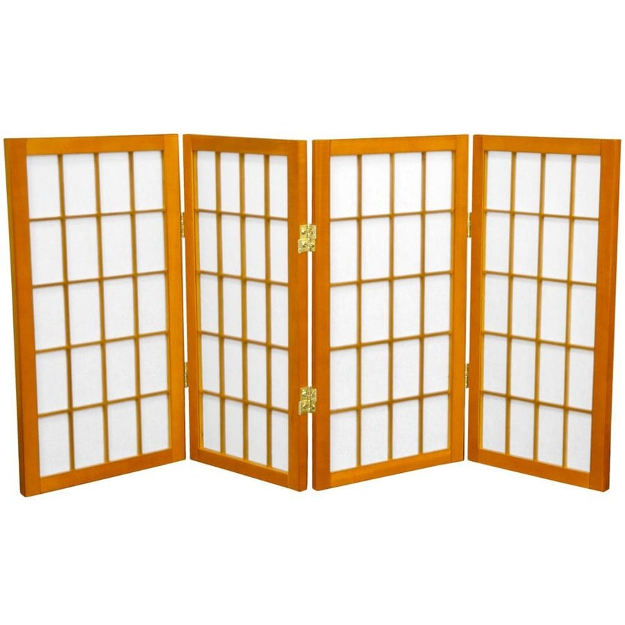 Oriental Furniture Window Pane 4-Panel Honey Paper Folding Indoor Privacy Screen
