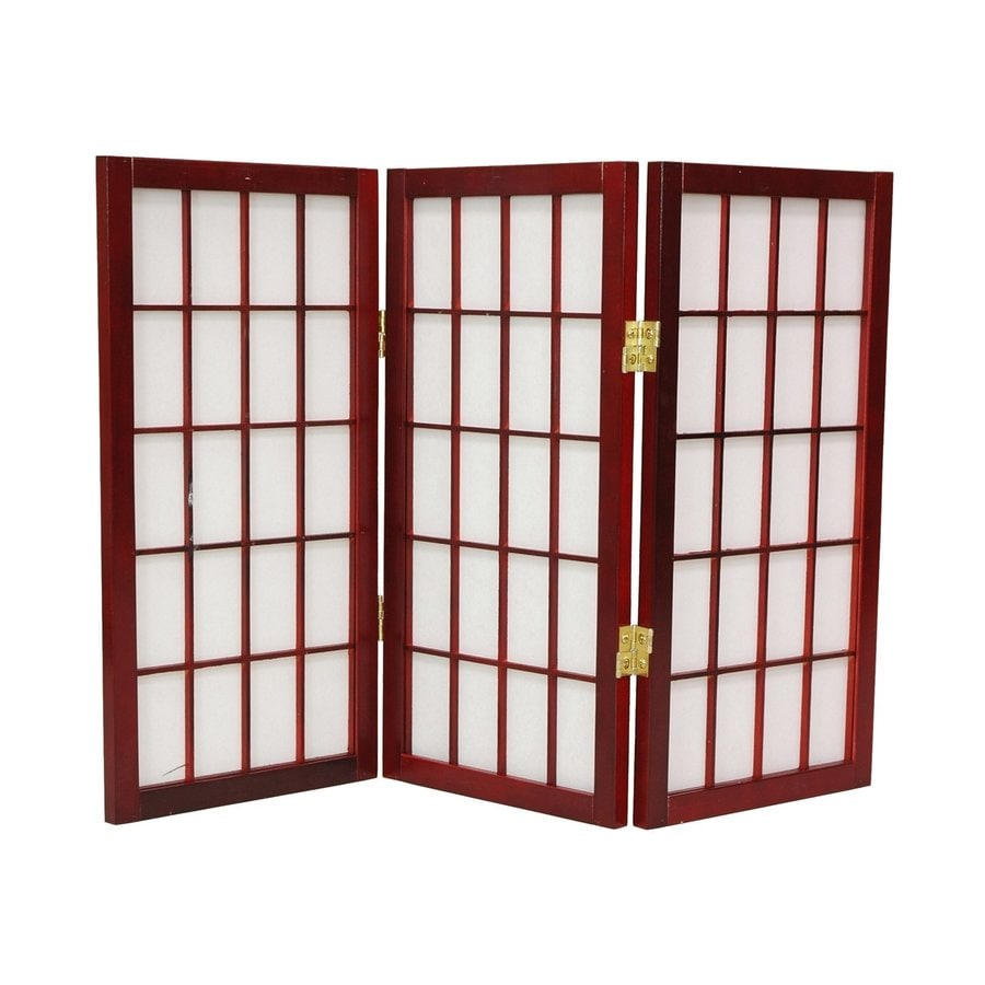 Oriental Furniture Window Pane 3-Panel Rosewood Paper Folding Indoor Privacy Screen