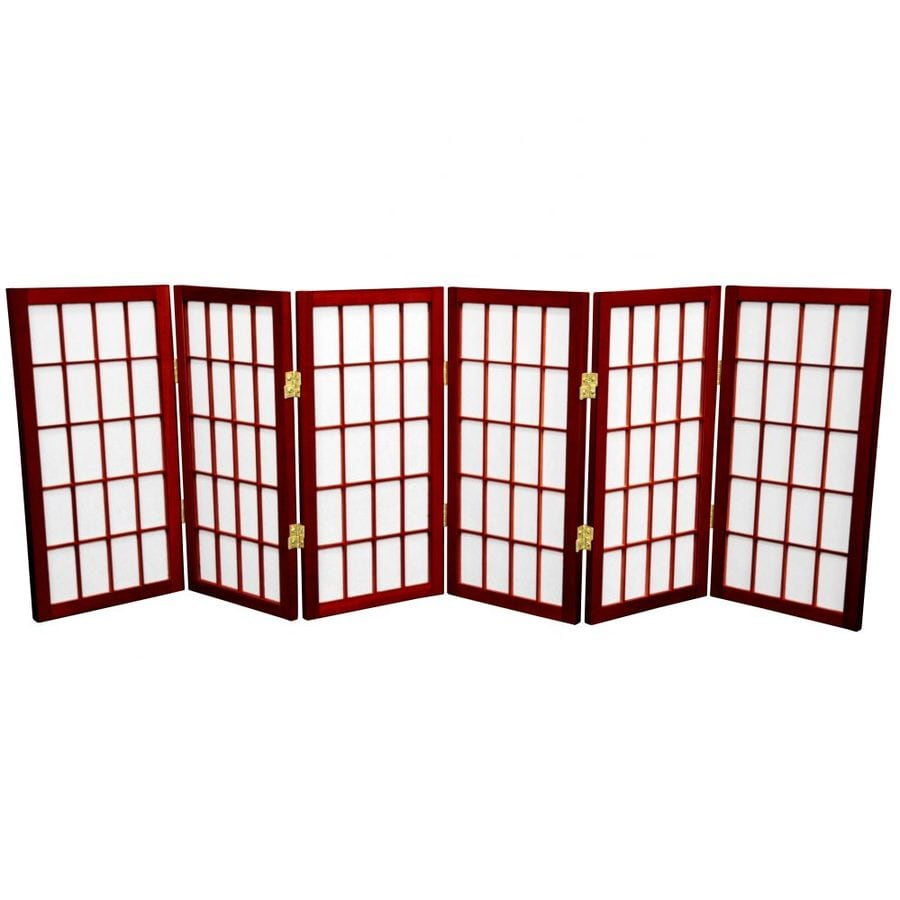 Oriental Furniture Desktop Window Pane 6-Panel Rosewood Wood and Paper Folding Indoor Privacy Screen