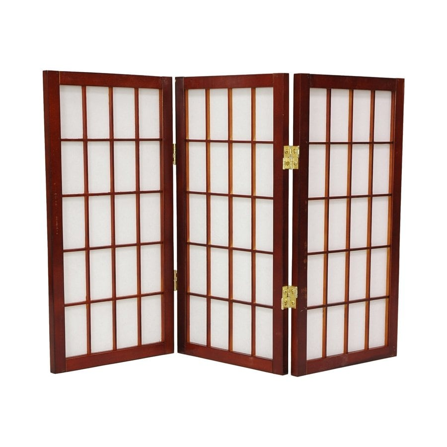 Oriental Furniture Window Pane 3-Panel Walnut Paper Folding Indoor Privacy Screen