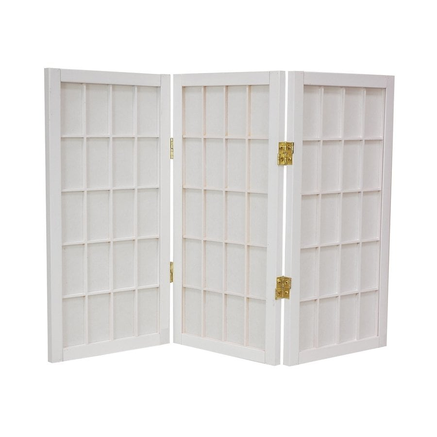 Oriental Furniture Window Pane 3-Panel White Paper Folding Indoor Privacy Screen
