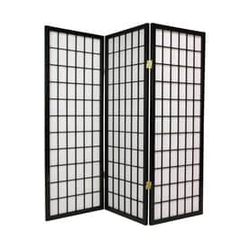 Charming Oriental Furniture Window Pane 3 Panel Paper Folding Indoor Privacy Screen