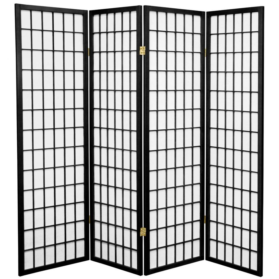 Oriental Furniture Window Pane 4-Panel Black Paper Folding Indoor Privacy Screen