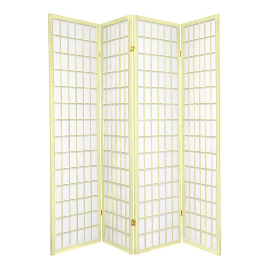 Oriental Furniture Window Pane 4-Panel Ivory Paper Folding Indoor Privacy Screen
