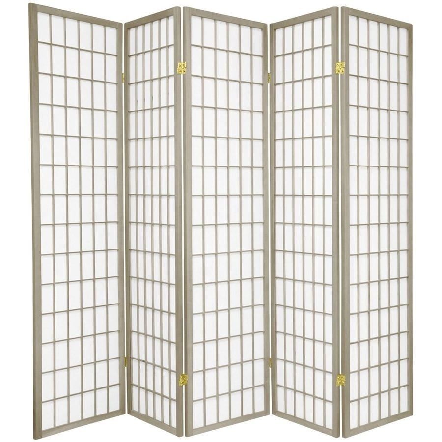 Oriental Furniture Window Pane 5-Panel Gray Paper Folding Indoor Privacy Screen