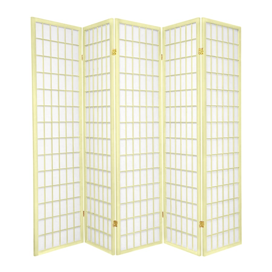 Oriental Furniture Window Pane 5-Panel Ivory Paper Folding Indoor Privacy Screen