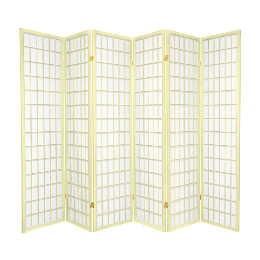 Oriental Furniture Window Pane 6-Panel Ivory Paper Folding Indoor Privacy Screen
