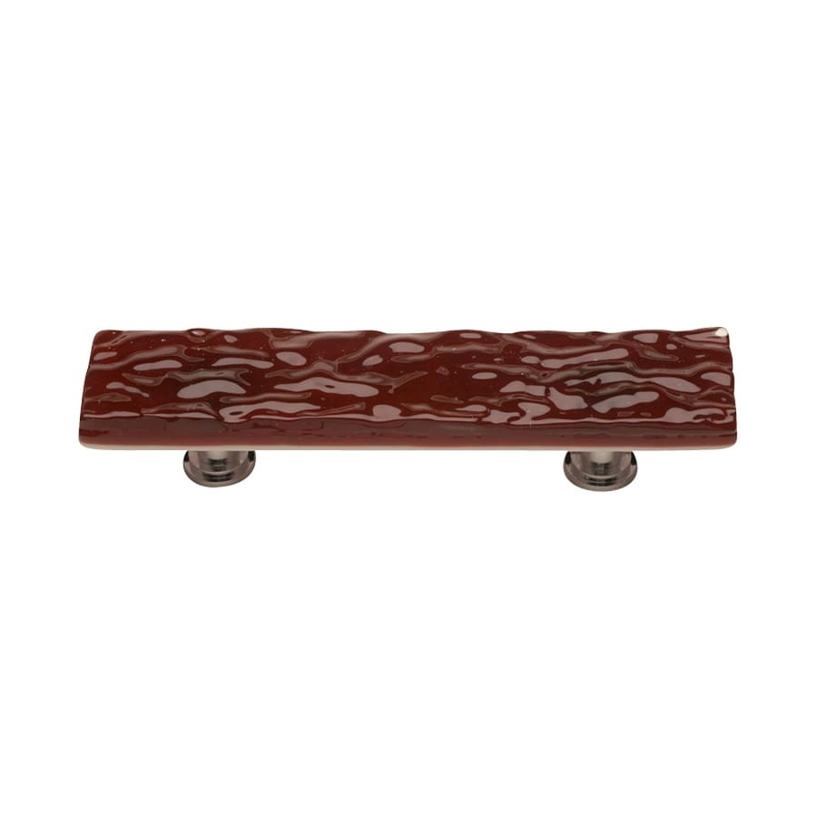 Sietto 3-in Center-To-Center Garnet Red/Satin Nickel Glacier Rectangular Cabinet Pull