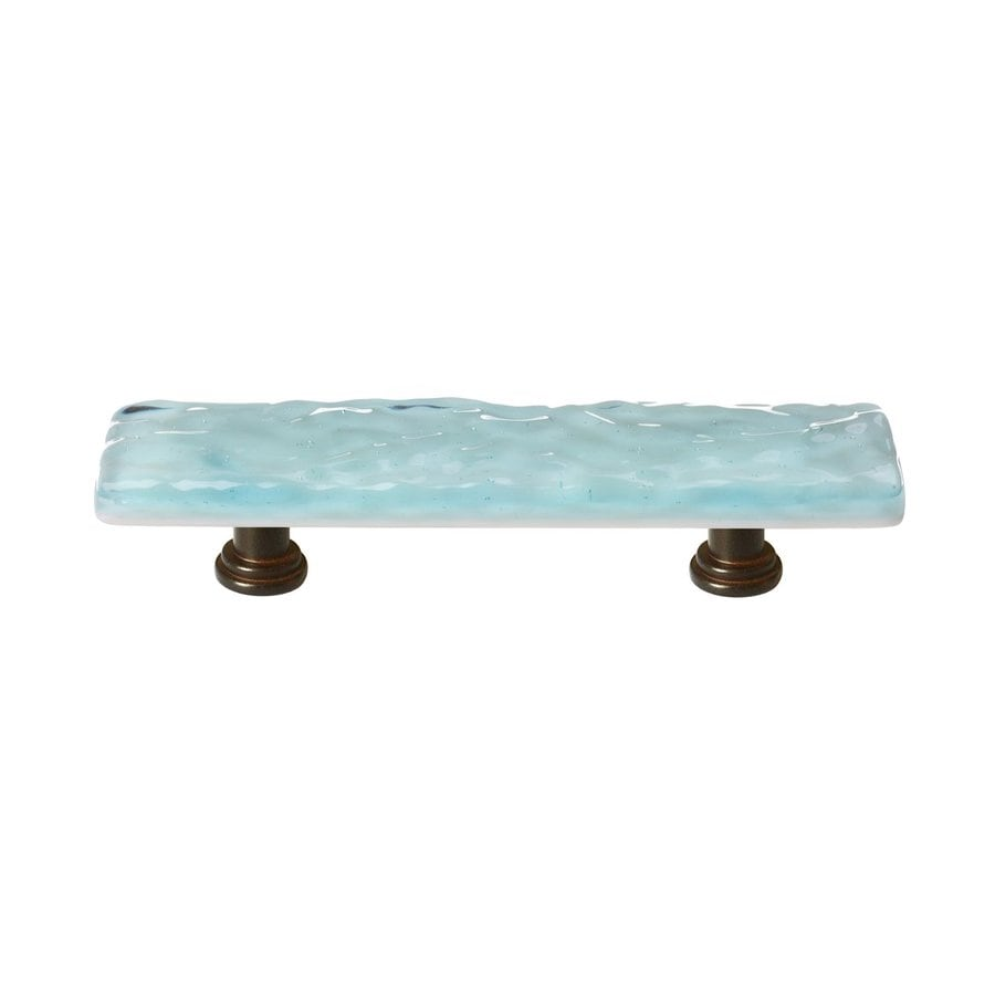 Sietto 3-in Center-To-Center Light Aqua/Oil-Rubbed Bronze Glacier Rectangular Cabinet Pull
