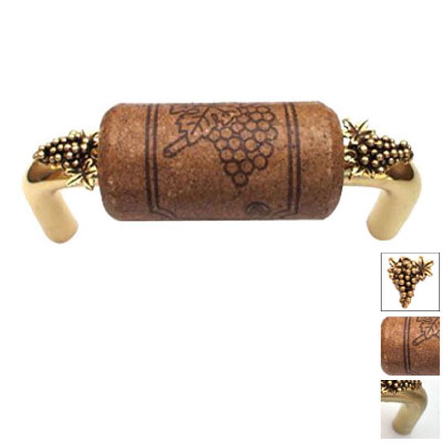 Vine Designs 4-in Center-To-Center Brushed Brass Vineyard Novelty Cabinet Pull