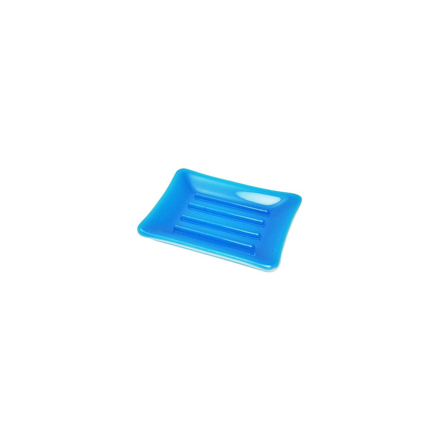 Hot Knobs Solid Turquoise Glass Soap Dish