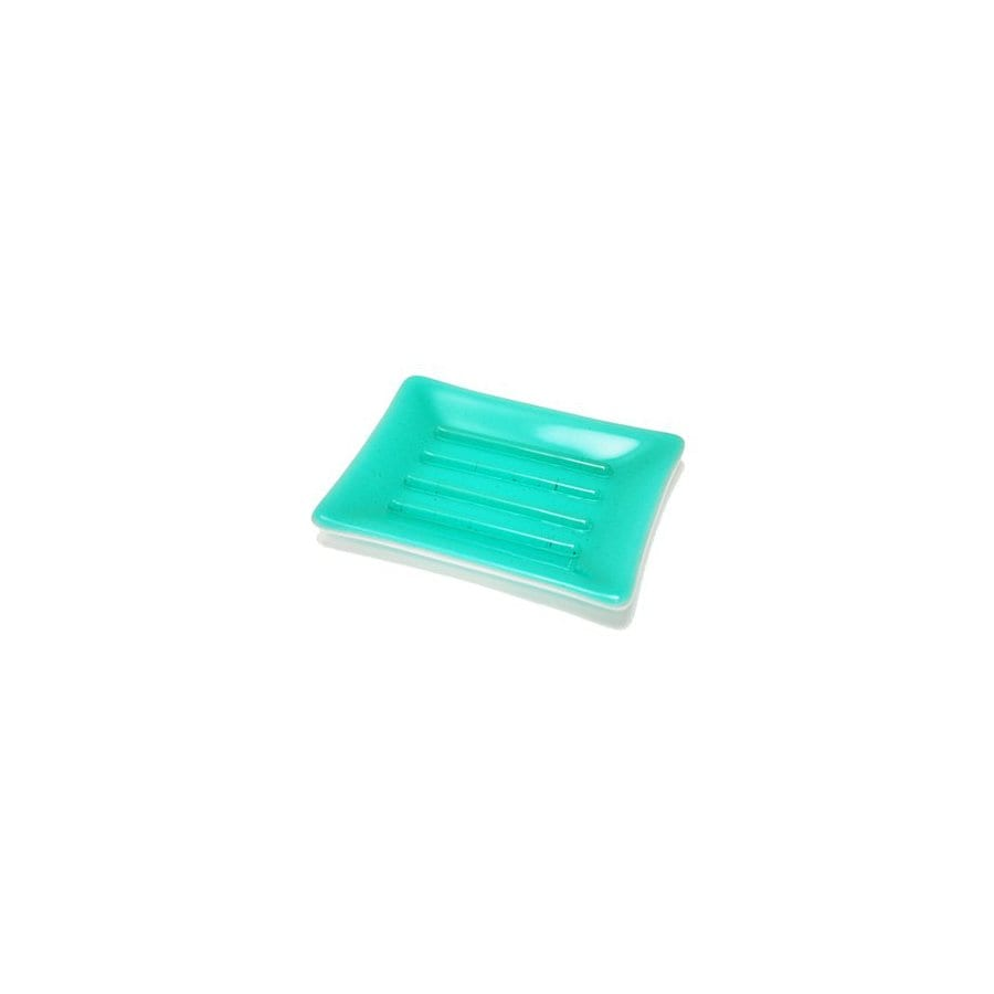 Hot Knobs Solid Aqua Blue Glass Soap Dish