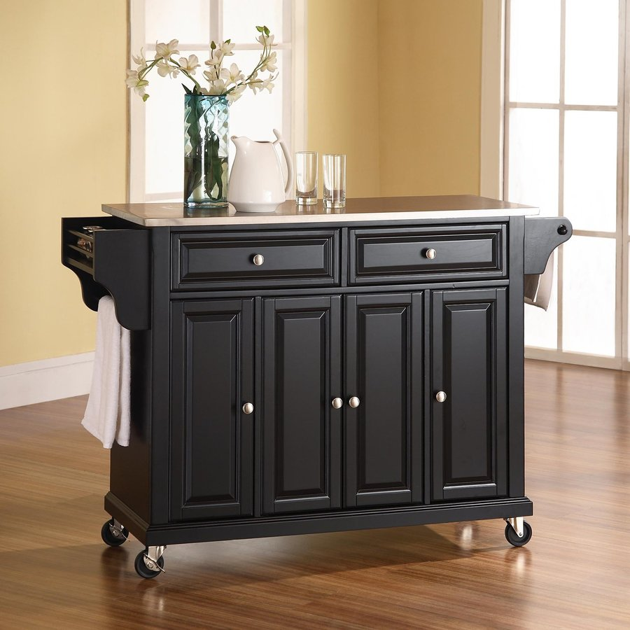 Shop Crosley Furniture Black Craftsman Kitchen Island At