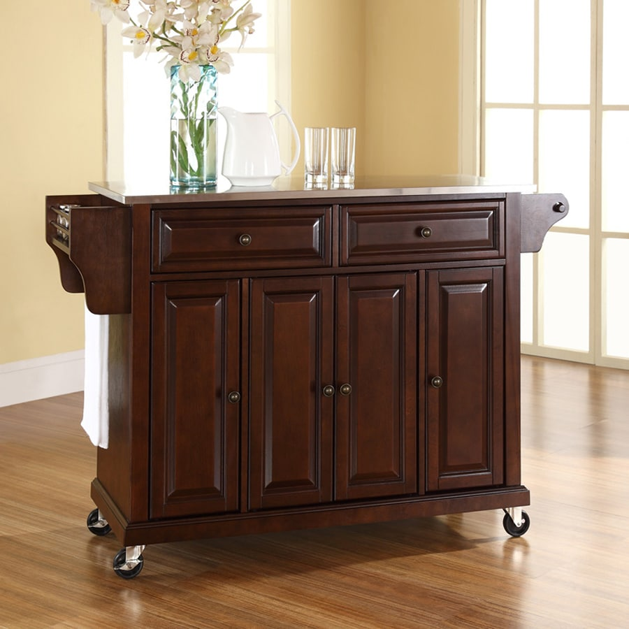 Crosley Furniture 52-in L x 18-in W x 36-in H Brown Kitchen Island with Casters