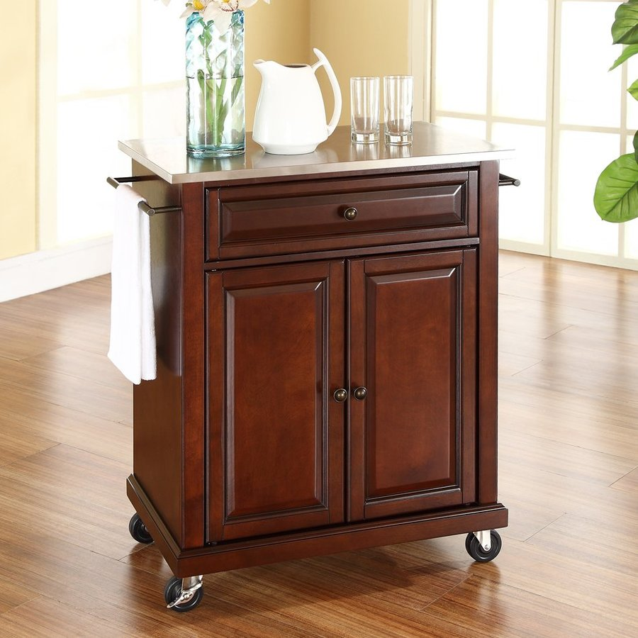 Crosley Furniture 28.25-in L x 18-in W x 36-in H Vintage Mahogany Kitchen Island with Casters
