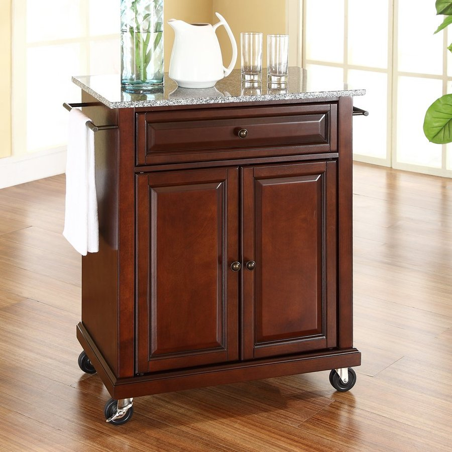Crosley Furniture 28.25-in L x 18-in W x 36-in H Brown Kitchen Island with Casters