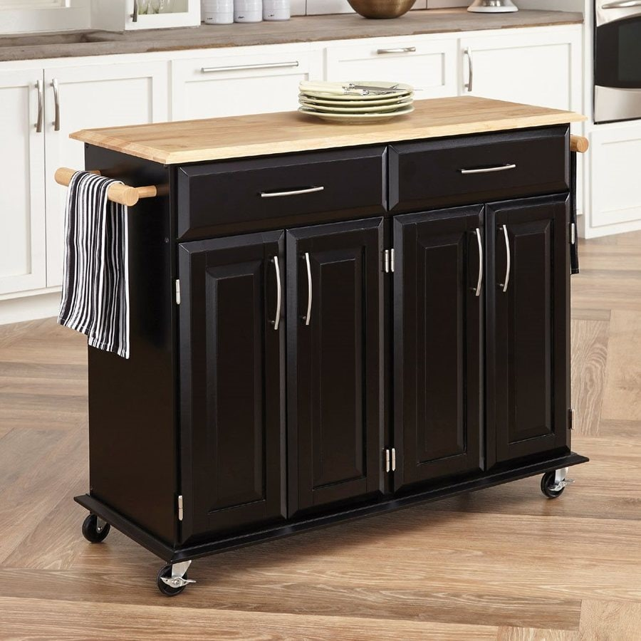 kitchen carts islands shop home styles black scandinavian kitchen carts at lowes 6504