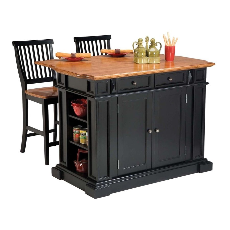 Shop Home Styles Black Scandinavian Kitchen Carts At Lowes Com: Home Styles Black Farmhouse Kitchen Islands 2-Stools At