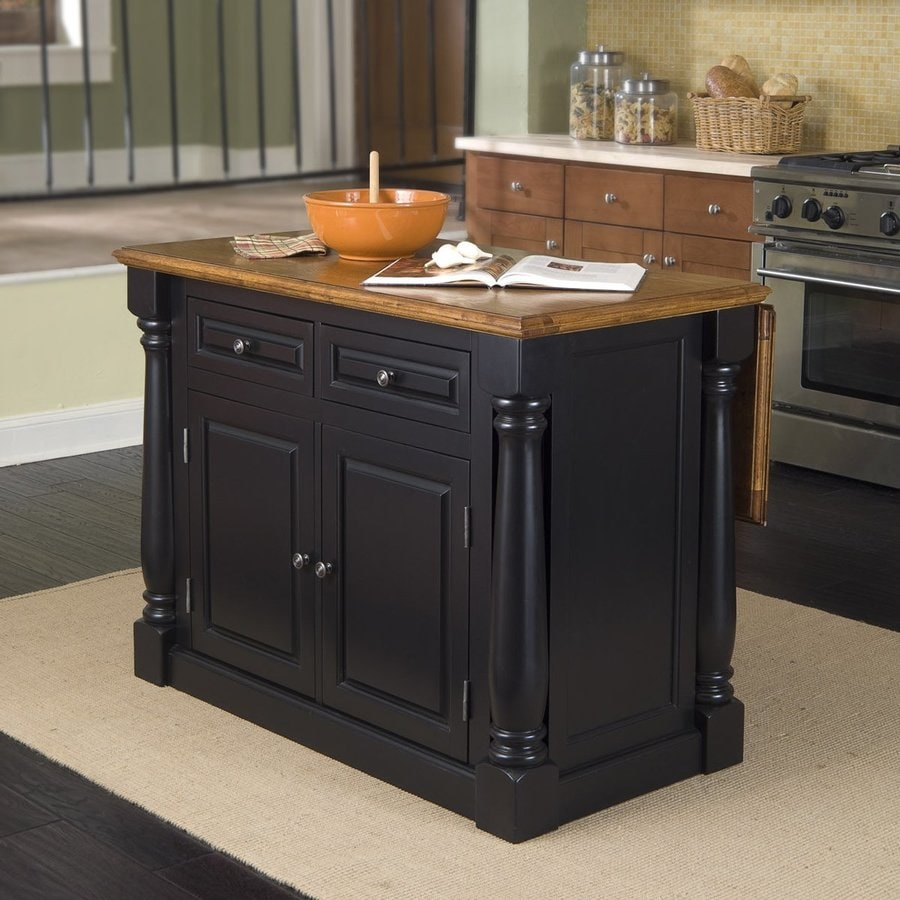 Kitchen island with sink lowes - Home Styles Black Midcentury Kitchen Island