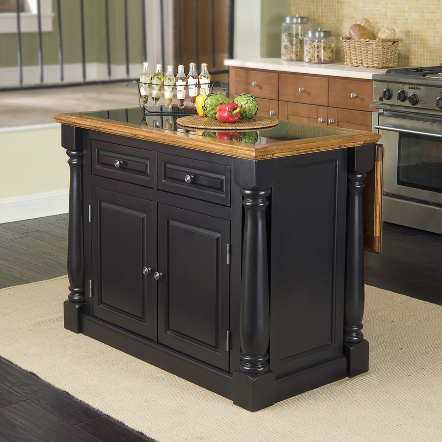 Home Styles Black Midcentury Kitchen Island