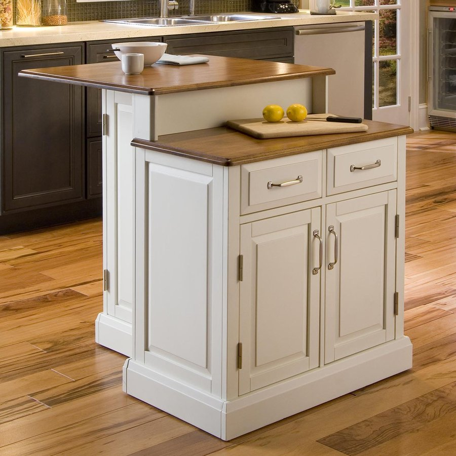 Home Styles White Midcentury Kitchen Island