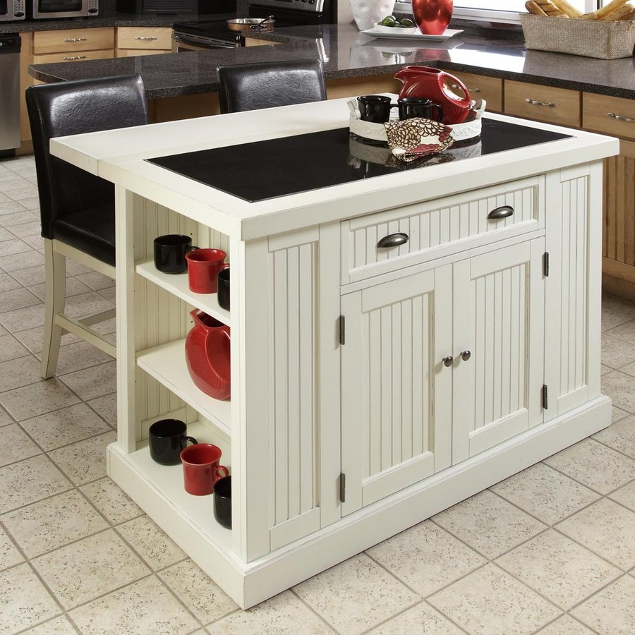 Shop Home Styles White Midcentury Kitchen Island At