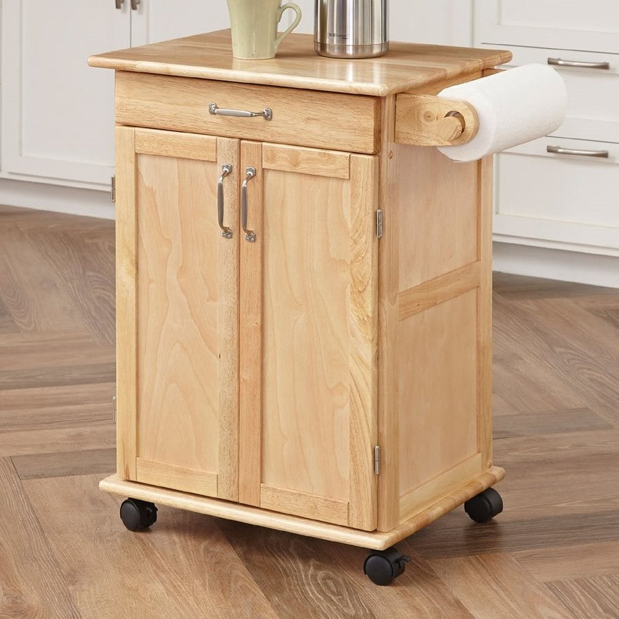 Home Styles 28.5-in L x 18-in W x 34-in H Natural Kitchen Island with Casters