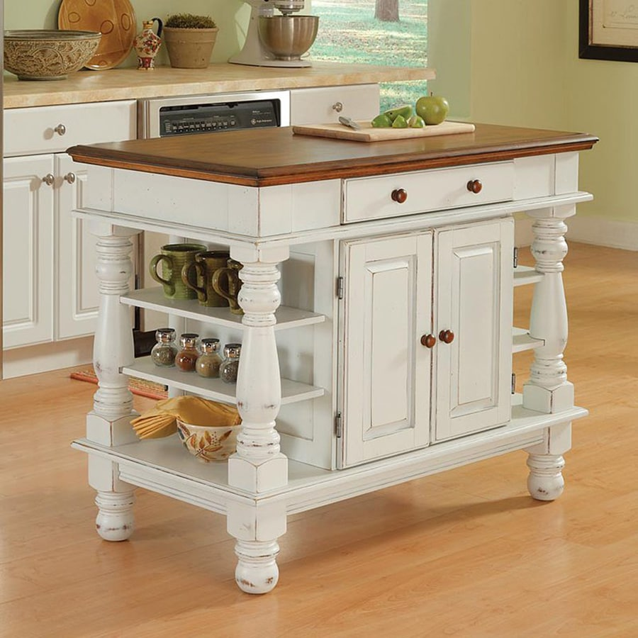Home Styles 42-in L x 24-in W x 36-in H Distressed Antique White Kitchen Island
