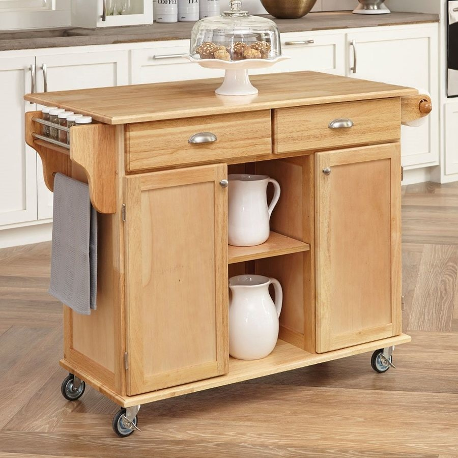 Home Styles 49.75-in L x 24-in W x 35.25-in H Natural Kitchen Island with Casters