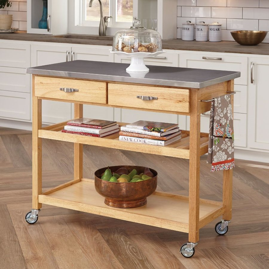 Home Styles Brown Scandinavian Kitchen Cart