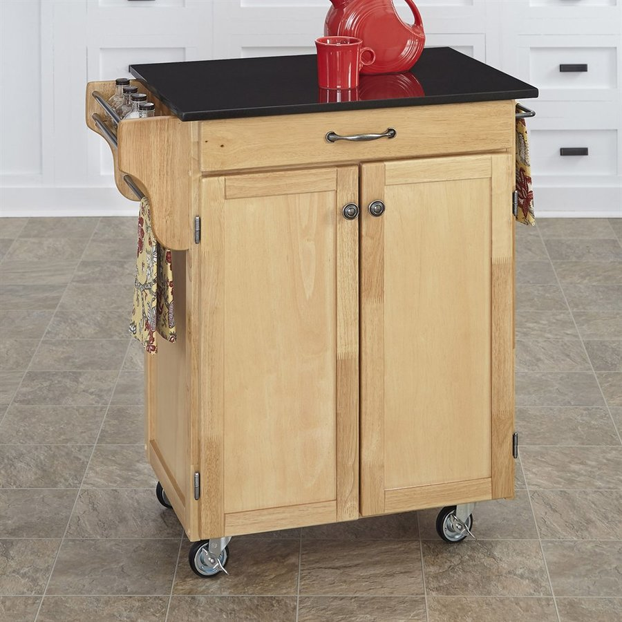 Home Styles 32.5-in L x 18.75-in W x 35.5-in H Natural Kitchen Island Casters