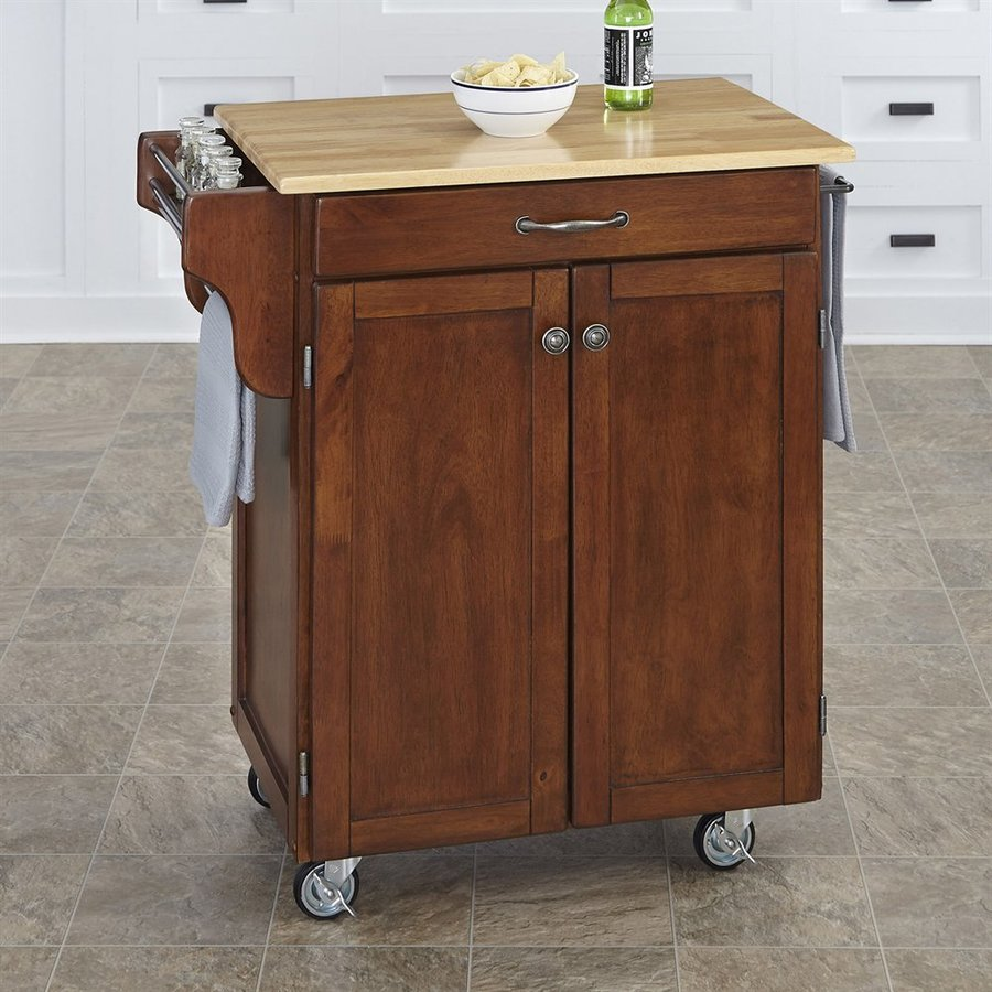 Shop Home Styles Black Scandinavian Kitchen Carts At Lowes Com: Shop Home Styles Brown Scandinavian Kitchen Cart At Lowes.com