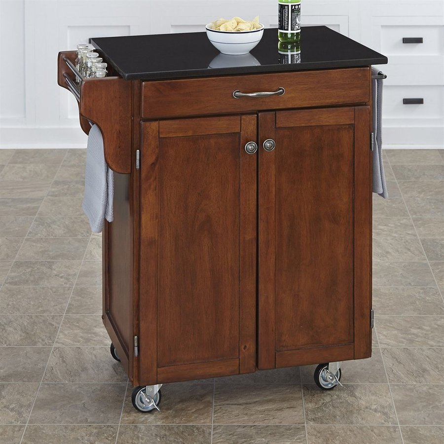 Home Styles 32.5-in L x 18.75-in W x 35.5-in H Brown Scandinavian Kitchen Carts