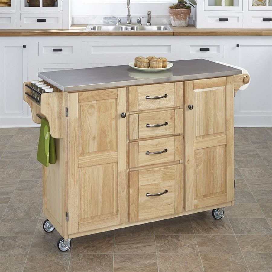 Shop Home Styles Brown Scandinavian Kitchen Cart At