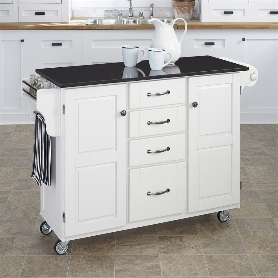 Home Styles 52.5-in L x 18-in W x 35.75-in H White Kitchen Island Casters