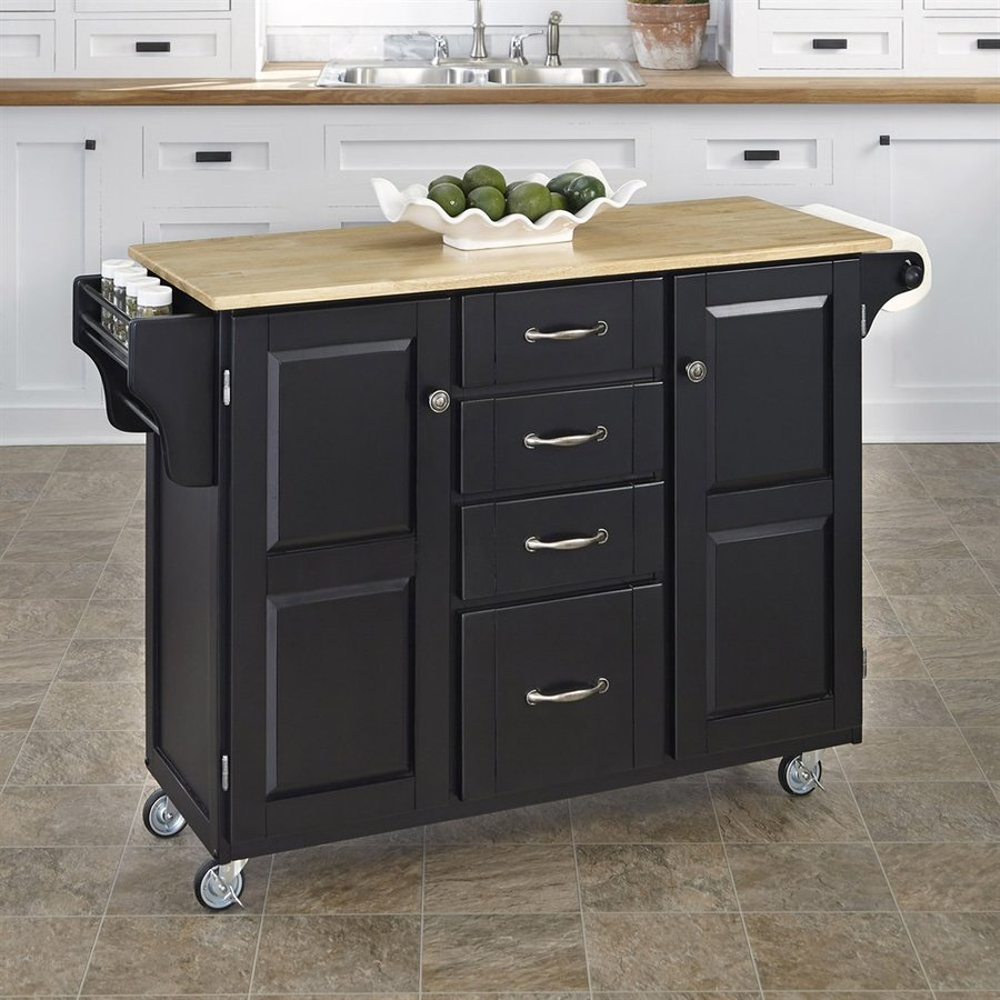 Home Styles Black Scandinavian Kitchen Cart