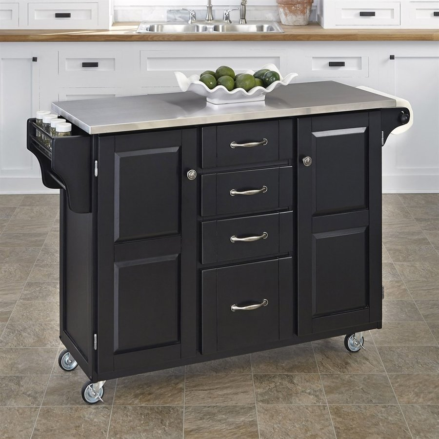 Shop Home Styles Black Scandinavian Kitchen Cart At