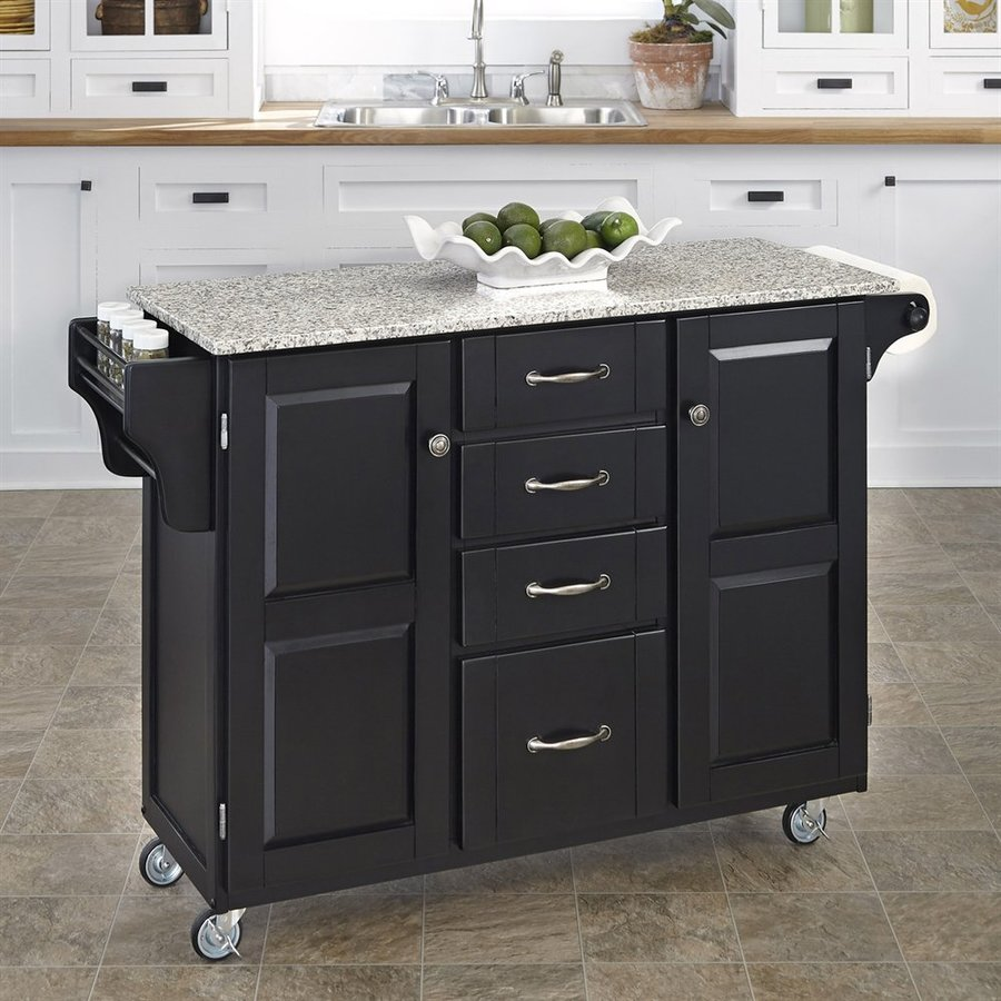 Home Styles 52.5-in L x 18-in W x 35.75-in H Black Kitchen Island Casters