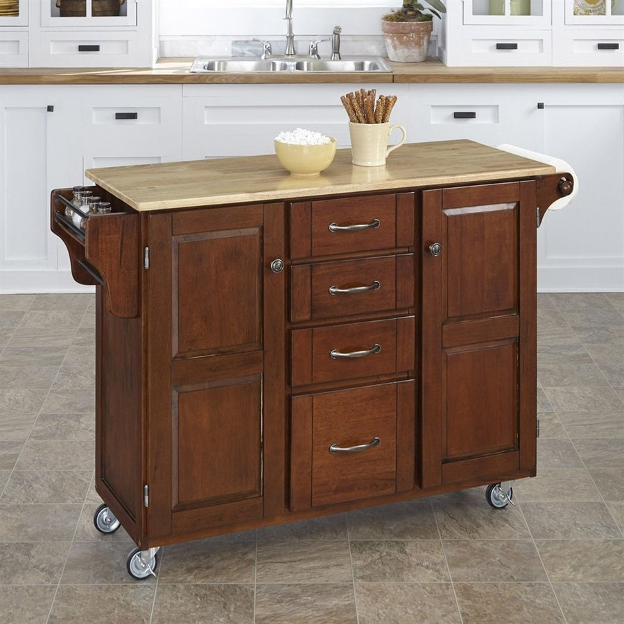 kitchen islands on casters shop home styles 52 5 in l x 18 in w x 35 75 in h medium cherry kitchen island casters at lowes com 9579