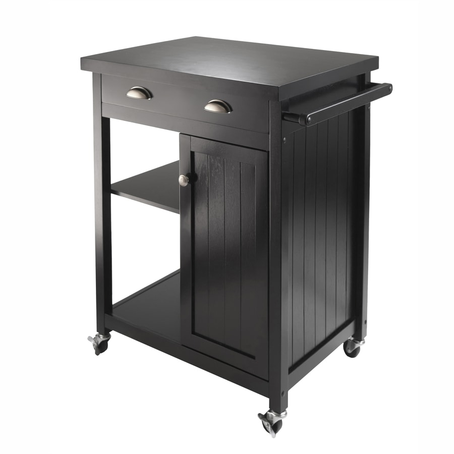 Winsome Wood 27.76-in L x 19.37-in W x 34-in H Black Kitchen Island with Casters