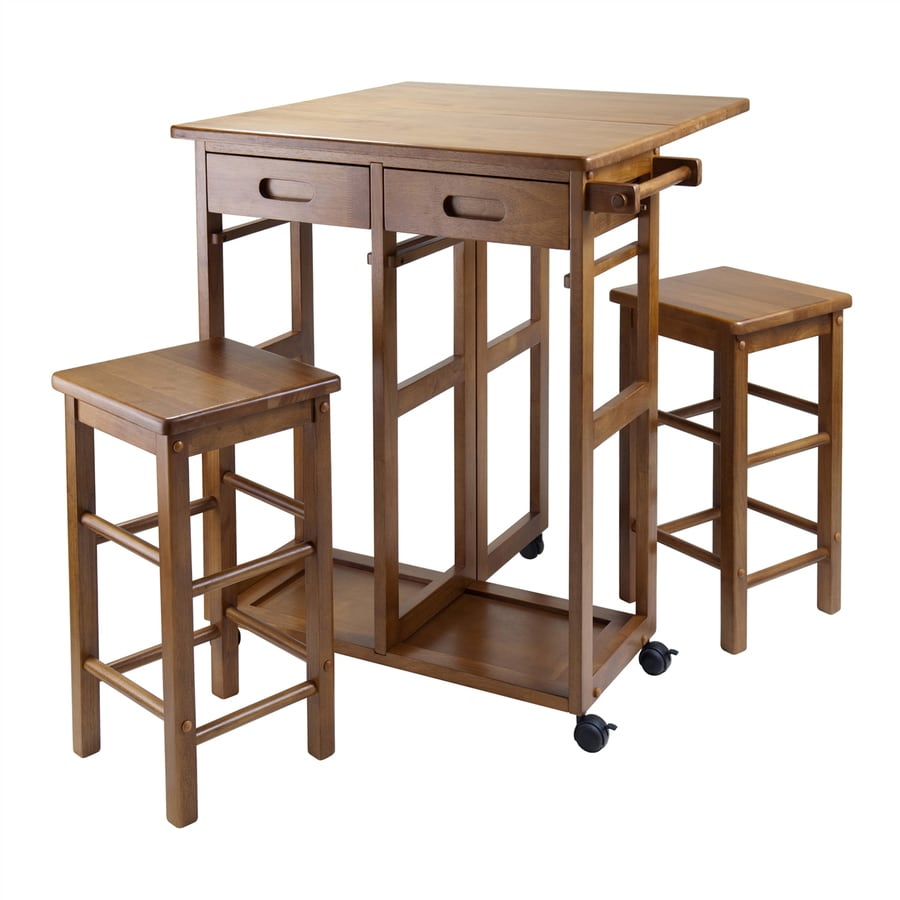 Winsome Wood 29.61-in L x 29.13-in W x 32.76-in H Teak Kitchen Island with Casters and 2 Stools